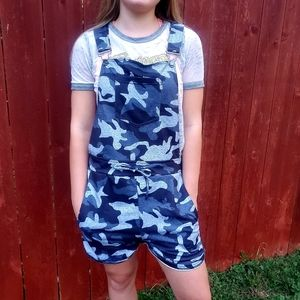 Black Blue Camouflage Overalls Shorts W/ Pockets
